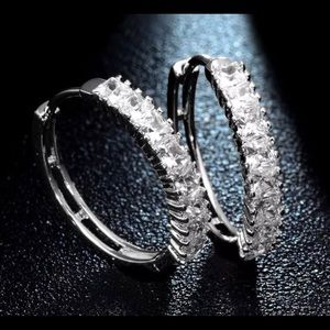 Jewelry - 18k WHITE GOLD PLATED ROUND CRYSTAL HOOPS Earrings